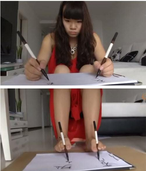 A girl who writes with boths hands and legs