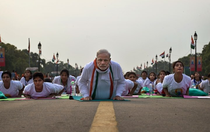 Indian Prime Minister Narendra Modi Performing Yoga. (AP Photo/Saurabh Das)